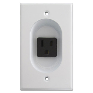 White 15A Recessed Outlet for Mounting Flat Panel TV