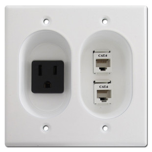 Recessed 15 Amp Receptacle / RJ45 Cat 6 Connectors, White