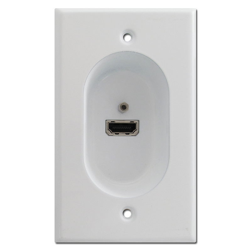 White Recessed Wall Plate With Hi Def Hdmi Connection Port