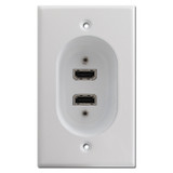 White Recessed Wall Plates - 2 Hi Def HDMI Connection Ports
