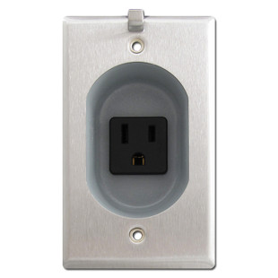 Black Outlet for Flat Panel TV with Stainless Steel Cover Plate