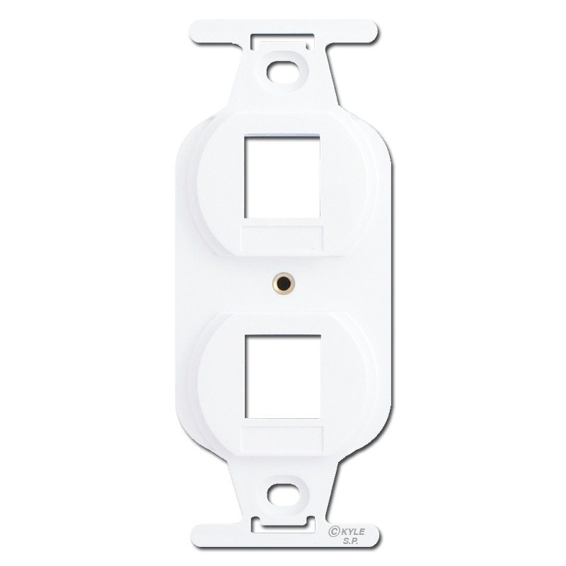 leviton white duplex outlet insert with 2 quickport jack