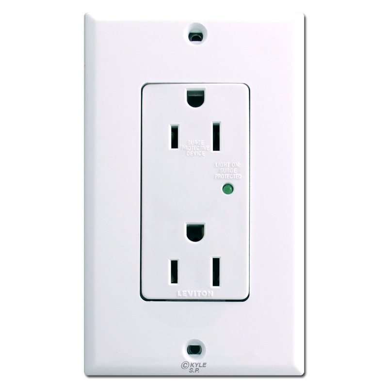 White surge protected decora outlets leviton 5280 kyle for Decora light switches