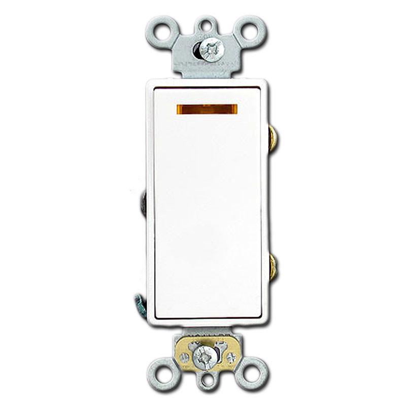 3 way 20a illuminated white decora rocker switch kyle for Decora light switches