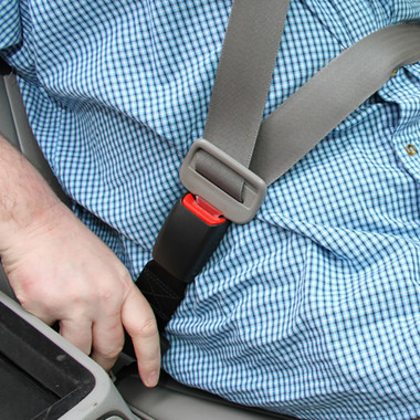 Regular seat belt extender in use.