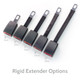 "We have many different black Rigid Extender lengths. Pictures from left to right are 11"", 8"", 7"", 5"", and 3""."