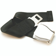 Universal Airplane Seat Belt Extender beautifully laid out (actual color is blue)