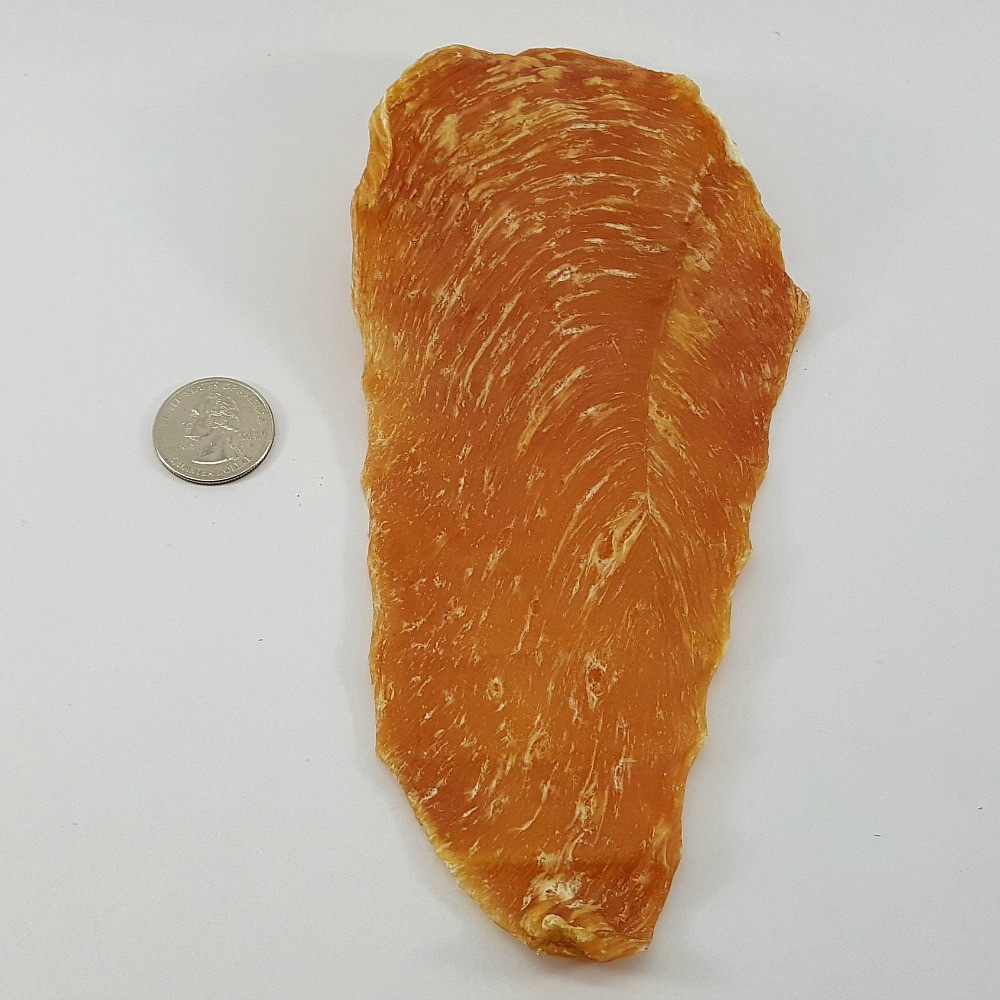 Average piece of Chicken Jerky for Size