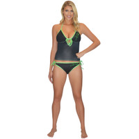Tankini Top Black / Green PWC Jetski Ride & Race Jet Ski Apparel