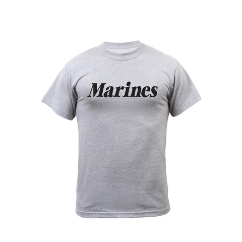 Grey Physical Training Marines T Shirt - Front View