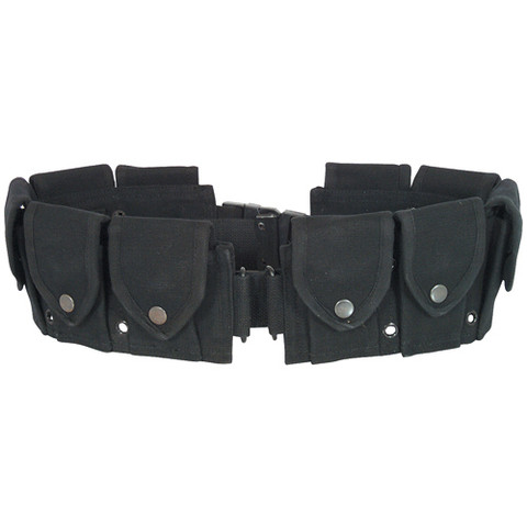 Black GI 10 Pocket Canvas Cartridge Belt - Front View
