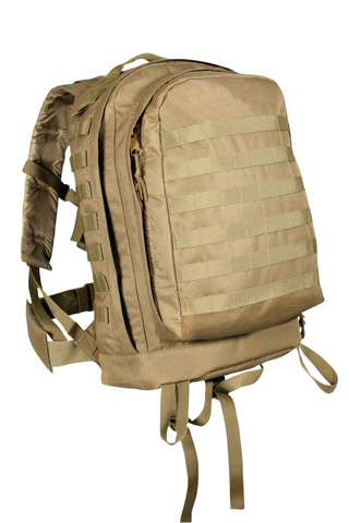 Coyote Brown MOLLE 3 Day Assault Pack - Front View