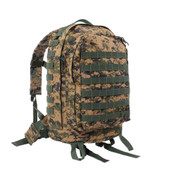Woodland Digital Camo MOLLE 3 Day Assault Pack - Front View