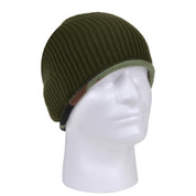 Reversible Olive/Camo Fleece Beanie Cap - Olive Side