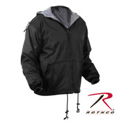 Reversible Fleece Lined Jacket With Hood - Black