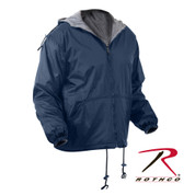 Reversible Fleece Lined Jacket w/Hood - Navy