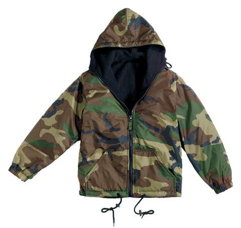 Reversible Fleece Lined Jacket w/Hood - Woodland Camo