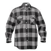 Extra Heavyweight Buffalo Grey Plaid Flannel Shirts - Front View