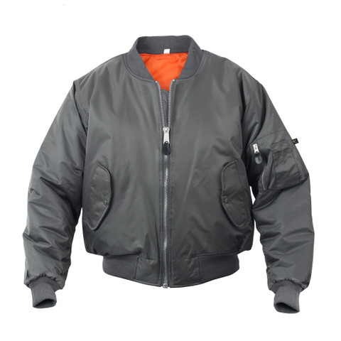 Gun Metal Grey MA-1 Flight Jacket - Front View