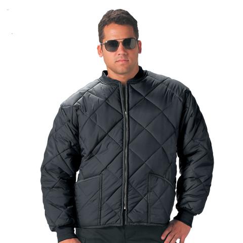 Diamond Nylon Quilted Black Work Jacket - Model View