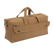 Jumbo Coyote Brown Canvas Mechanics Tool Bag - Side View