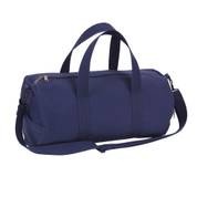 Navy Blue Canvas Sports Shoulder Bag - Front View