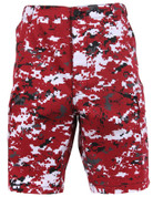 Red Digital Camo BDU Military Shorts - Front View