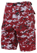 Red Digital Camo BDU Military Shorts - Angle View