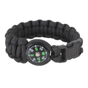 Kids Survival Compass Paracord Bracelet - Black