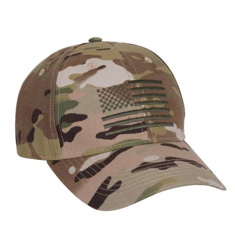 MultiCam Low Profile Cap w/US Flag - Side View