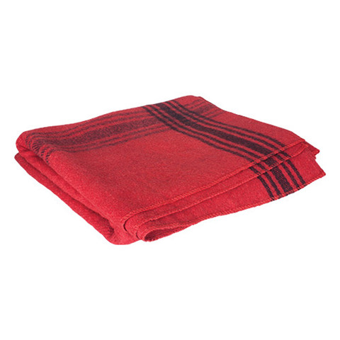 Adventure Red/Navy Striped Wool Blanket - Folded Side View
