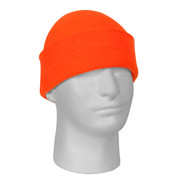 Deluxe Fine Knit Safety Orange Watch Cap - View