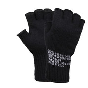 Military Black Fingerless Wool Gloves - Full View