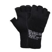 Military Black Fingerless Wool Gloves - Full View
