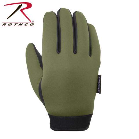 Olive Waterproof Cold Weather Neoprene Gloves - View