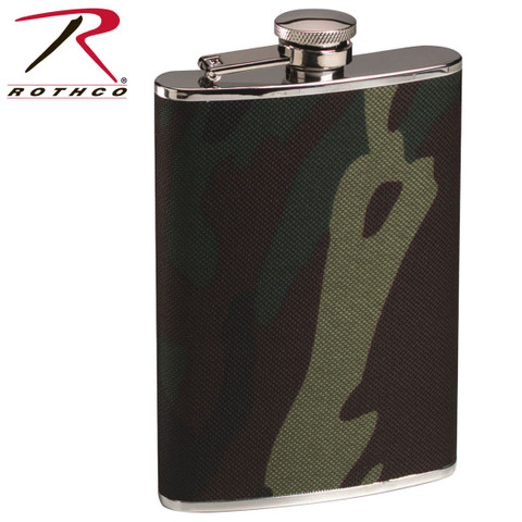 Rothco Woodland Camo Stainless Steel Flask - Rothco View