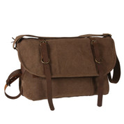 Vintage Brown Canvas Explorer Shoulder Bag - View