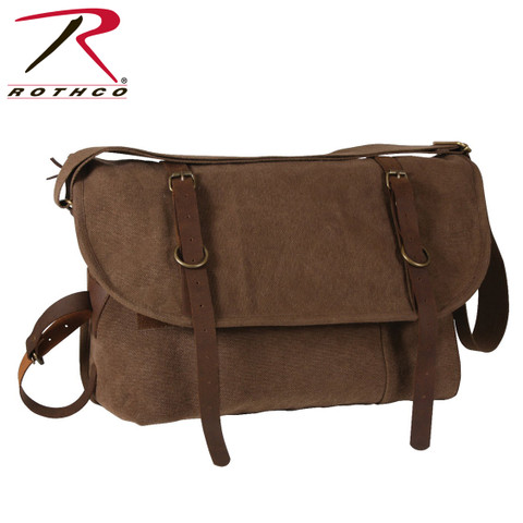 Vintage Brown Canvas Explorer Shoulder Bag - Rothco View