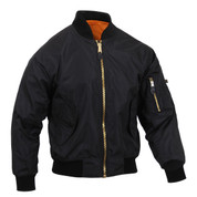 Black Lightweight MA-1 Flight Jacket - View