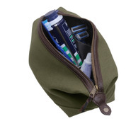 Classic Olive Canvas Leather Travel Kit - Inside View