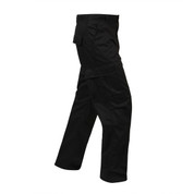 Relaxed Fit Zipper Black BDU Fatigue Pants - Right Side View