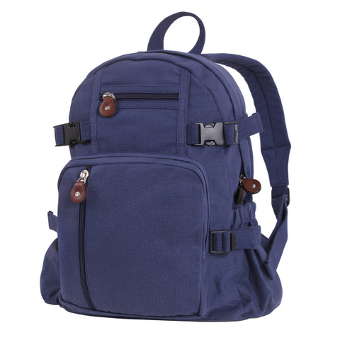 Vintage Navy Blue Canvas Compact Backpack - View