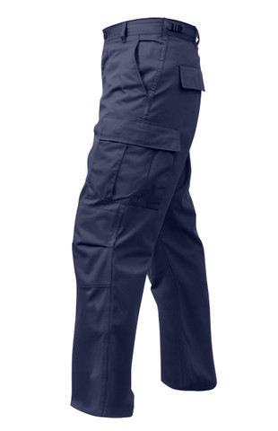 Relaxed Fit Zipper Navy Blue BDU Pants - View Left Side