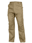 Relaxed Fit Zipper Khaki BDU Fatigue Pants - Casual View
