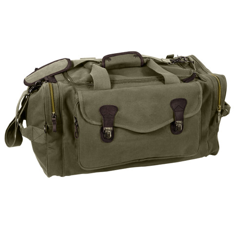 Classic Moss Green Canvas Weekenders Bag - View