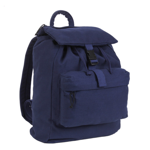 Navy Blue Canvas Trail Daypack - View