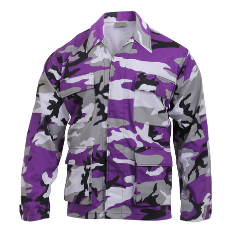 Purple Camo Color BDU Fatigue Shirt - View