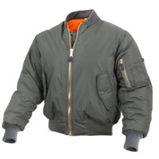 Enhanced Nylon Sage Green MA-1 Flight Jacket - View