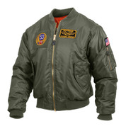 Aviator Sage Green MA-1 Flight Jacket w/ Patches - View Patches