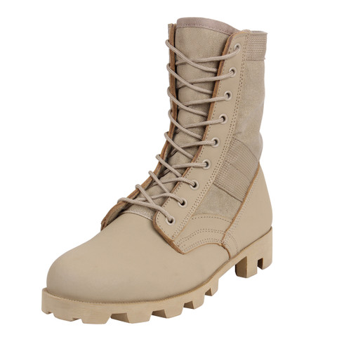 Classic Desert Tan Military Jungle Boots - Angle View